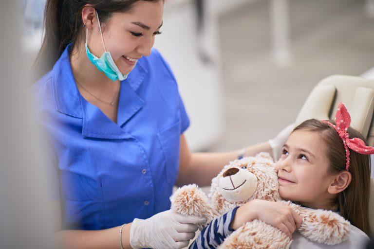 Worried child at dentist
